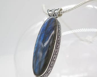 Large Blue Fire Labradorite Sterling Silver Pendant and Chain