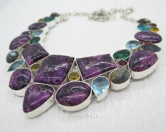 Charoite Labradorite Emerald Blue Topaz Citrine Sterling Silver Necklace