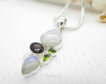 Blue Shine Moonstone Smoky Topaz and Peridot Sterling Silver Pendant and Chain