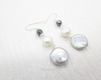 Fresh Water Pearl Dangle Sterling Silver Earrings