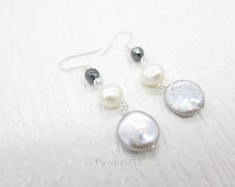 Fresh Water Pearl Dangle Sterling Silver Earrings