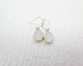 Blue Fire Oval Moonstone Sterling Silver Earrings