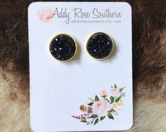 12mm black druzy earrings in gold, druzy studs, druzy earrings, rose gold studs