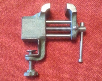 "Vintage Jewelers Vise 1 1/2"" Lightweight Portable Tabletop Bench Vise Clamp"
