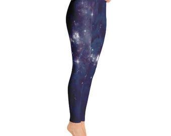Outer Space Leggings - Galaxy Festival Leggings -  Boho Yoga Leggings - Astrology Leggings - Mystic Clothing - Psychedelic Leggings
