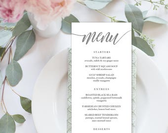 Wedding Menu Printable, Menu Editale Template | Menu Printable, Reception Printable, Rustic SILVER, Dinner Menu 4x9"
