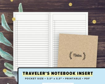 POCKET Size TN   Notes Pages, To Do List, Blank Lists   Traveler's Notebook Inserts Printable, Field Notes   Instant Download PDF