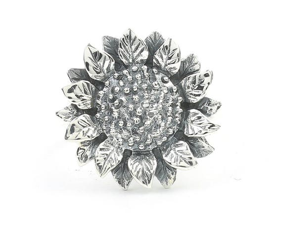 Sterling Silver Sunflower Ring, Flower Ring, Boho, Gypsy, Festival Jewelry, Hippie Jewelry, Nature