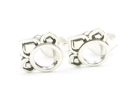 Lagos Earrings, Sterling Silver Lotus Stud Earrings, Flower Post Earrings, Ethnic Stud Earrings, Yoga, Boho, Gypsy, Festival Jewelry