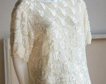 Sequin Top | White Sequin Top | White Sparkly Top | White Embroidered Top | Sheer Sequin Top | Sheer Silk Top | White Sheer Top |