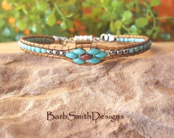 Thin Turquoise Wrap Bracelet-Leather Wrap-Turquoise Red Silver Bracelet-One Wrap-Custom Sizes-Magnet Clasp-Skinny Mini in Turquoise Coral