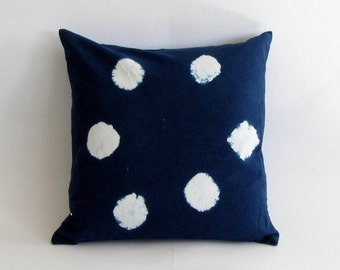Indigo Handmade Tie & Dye, Shibori pillow cover,cushion cover,throw pillow, 18  x 18 inches. Boho.Bohemian,Tie dye,blue cushion cover