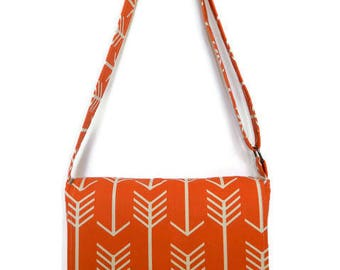 Orange Messenger Bag, Orange School Bag, Cross Body Bag, Fabric Messenger Bag, Fabric Bag, Bag for Women, Cross Body messenger Bag
