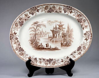Antique English William Brownfield & Sons 'Madras' Pattern Brown Transfer Ware Serving Platter [CO/SK04]