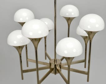 Italian Chrome and White Glass 8 Light Chandelier [8127]