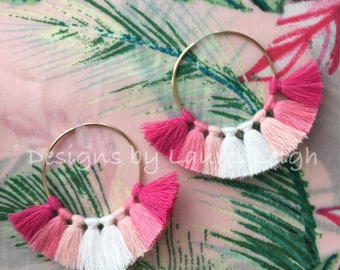 PINK Ombré Tassel Hoop Earrings | gold, hoops, statement earrings, ombre