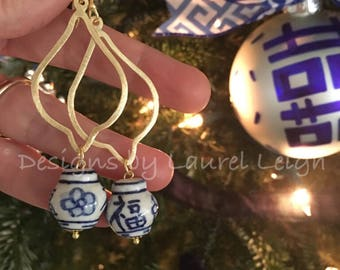 GOLD Chinoiserie Earrings | dangle, lightweight, blue and white, designs by, laurel leigh, statement earrings, ginger jar