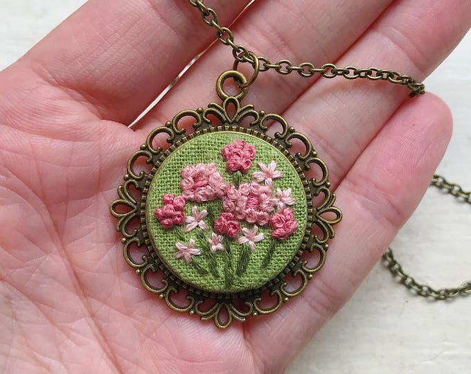 Hand Embroidered Pink Wildflower Pendant