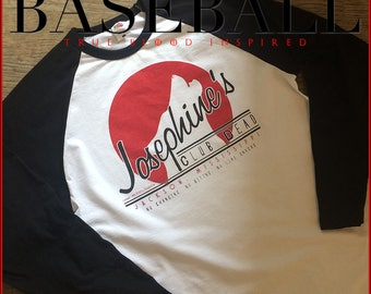 True Blood Club Dead baseball shirt! Inspired by the Sookie Stackhouse books, release your inner wolf with this Nameless City Apparel raglan