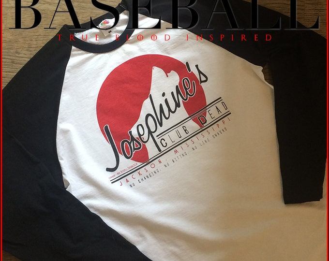 Featured listing image: True Blood Club Dead baseball shirt! Inspired by the Sookie Stackhouse books, release your inner wolf with this Nameless City Apparel raglan