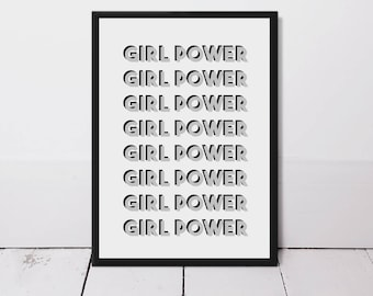 Girl Power Typography Quote Print - Motivational Quotes - Art Print - Gallery Wall Art - Inspirational