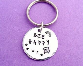 bee happy keyring, be happy keychain, happy keychain, bee keyring, bee keychain, bumblebee keyring, honey bee keyring, bee gift, bumblebee