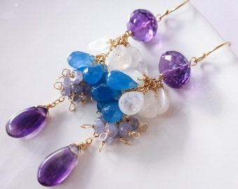 Purple Amethyst Earrings, Rainbow Moonstone Earring, Purple Bridal Earrings Gemstone Earring Gold Filled Cluster Earrings Statement Earrings