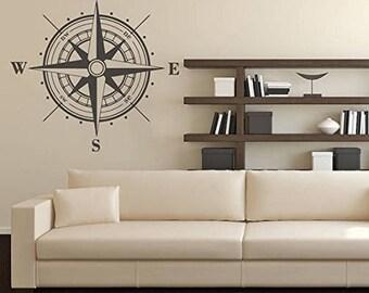 Compass wall decal etsy - Wandtattoo kompass ...