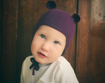 Baby pilot hat baby cap baby hat ear hat animal hat toddler hat fall hat tie hat