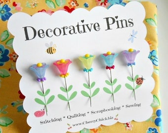 Flower Sewing Pins - Decorative Sewing Pins - Quilt Pins - Scrapbooking Pins - Gift for Quilters - Quilt Retreat Gifts - Bulletin Board Pin
