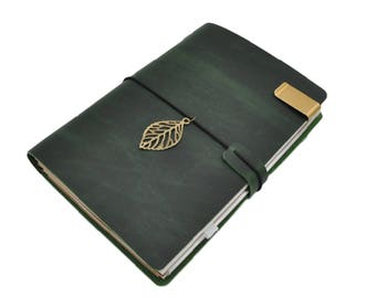 Forest Green Leather Midori Inspired Traveler's Notebook, Refillable Leather Notebook Journal - PJ006