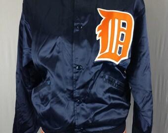 MLB Felco Jacket Detroit Tigers Vintage Satin USA Blue Nylon Baseball Sz S