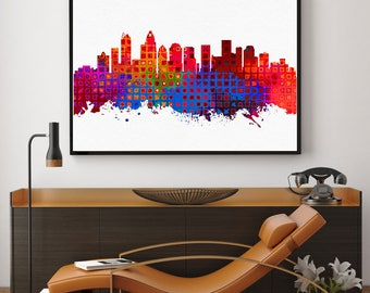 Charlotte Skyline Print, Charlotte Painting, Charlotte Art, Charlotte Wall Decor, Watercolour Charlotte, North Carolina Art (N173)