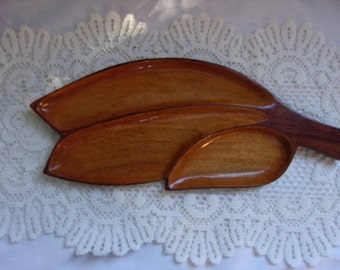 Leaf Shaped Monkey-Pod Wood tray Mid Century Decor 17 1/2 Inches Three Section