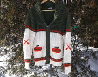 Curling Sweater Vintage Knit Sweter Dad Sweater Warm Comfy Winter Sweater Olympics Curling Skiwear Vintage Oversized Sweater Size Large