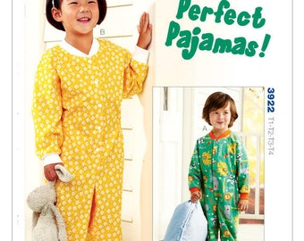 Sewing Pattern Toddlers' Snap-Front Perfect Pajamas, Kwik Sew Pattern 3922, Boys - Girls Footed or Not, PJ's, One Piece Pajamas, Warm PJ's