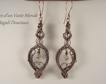 Antique copper wirewraps Moonstone earrings