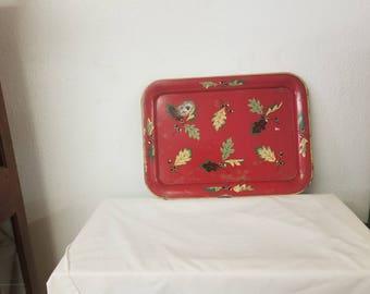 Vintage Metal Christmas tray, prmitive tray, Christmas Decor, Fall tray, Red tray. Leaf tray, Vintage red tray, Acorn decor, leaf decor