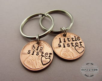 Big Sister Little Sister Penny Keychain set, Sister keychain, Keychain Set, Lucky Penny, Custom Keychain, Gift for Sister, Personalized Gift