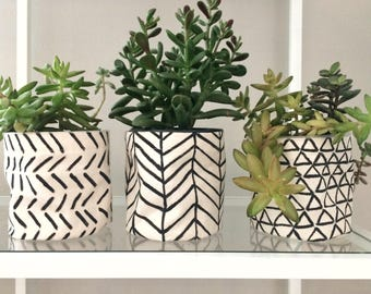 Hand painted flower pot cover - chevron