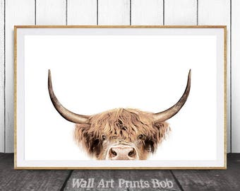 Cow Wall Art, Highland Cow Print, Cow Print, Farm Animal Wall Art, Farm Animal Print, Nursery Animals, Nursery Animal Print, Digital Print
