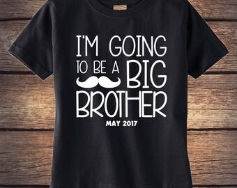 Big Brother Shirt - Big Bro Shirt - Big Brother announcement shirt - Baby Announcement - Mustache Shirt- Customized Announcement Shirt