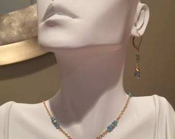 Blue Topaz and Gold Filled Necklace