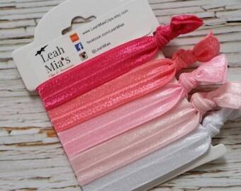Shades of Pink Hair Ties Set of 5, Pink Toddler Hair Ties, Pink Hair Ties, Hair Accessories, Pink and White Hair Elastics, Fold over elastic