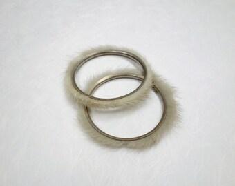 Midcentury Mink Bangle Bracelets - 1960s Fur Bracelets
