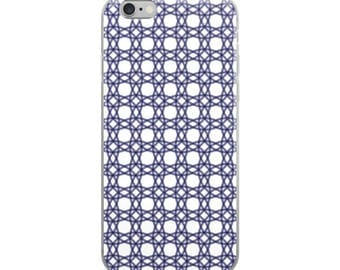 Blue pattern iPhone 6 7 8 X case, beautiful geometric design, protective case for man or woman