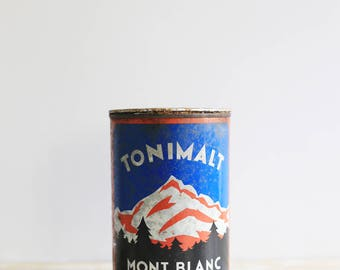 Vintage Tonimalt tin box - Round tin box from French brand Mont Blanc - Red and blue vintage box - Vintage chocolate drink packaging