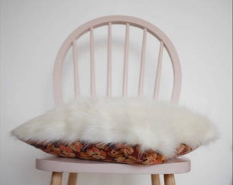 Wig and Flower Pillow / handmade / faux fur / vintage fabric / hygge.
