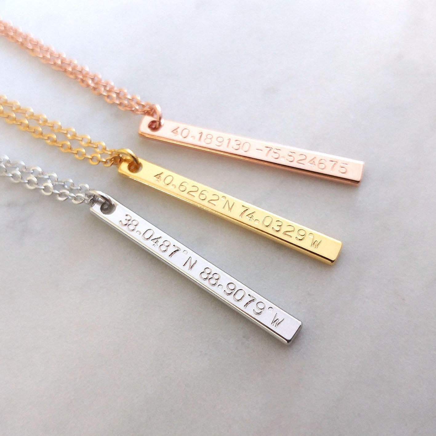 Gps Coordinates Necklace: Custom Coordinates Necklace Location GPS Coordinates