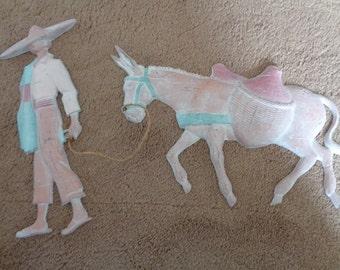 Midwestern Metal Wall Art, Man with Donkey, Southwestern Wall Decor, Metal Art, Folk Art